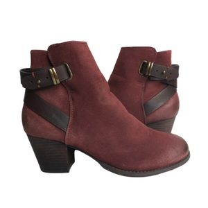 Call it Spring Booties Burgundy Distressed Straps